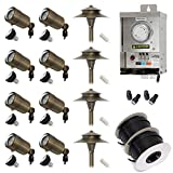 Lightkiwi A1676 Low Voltage LED Landscape Lighting Kit - (8) Macro Spotlight (4) Path Light Kit