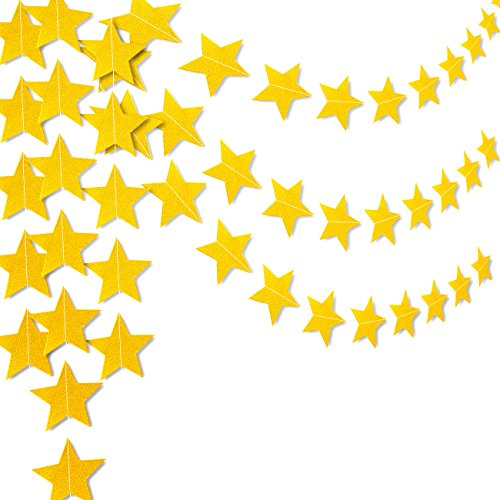 2-Pack Gold Star Hanging Banner Garland Decorations - Party Decorfor Photo Booths, Weddings, Valentines Day, Christmas, Anniversaries, Baby Shower, Kids Birthdays, New Years, 10 Feet Long