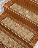"Natural Area Rugs 100% Natural Fiber Beach, Seagrass Sage, Handmade Stair Treads Carpet Set of 13 (9""x29"") Malt Border"