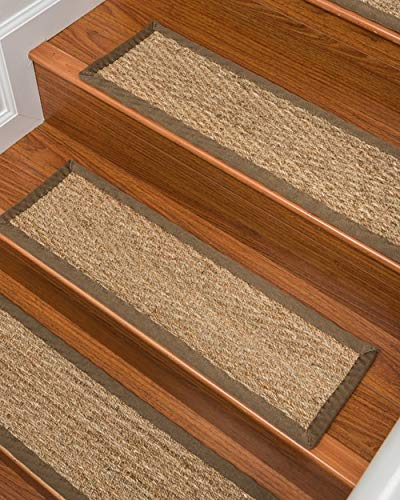 Natural Area Rugs 100% Natural Fiber Beach, Seagrass Sage, Handmade Stair Treads Carpet Set of 13 (9x29) Malt Border