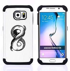 GIFT CHOICE / Defensor Cubierta de protección completa Flexible TPU Silicona + Duro PC Estuche protector Cáscara Funda Caso / Combo Case for Samsung Galaxy S6 SM-G920 // white sketch octopus monster infinity //