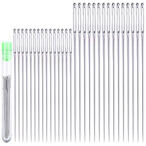 30 Large Eye Stitching Needles - 2 Sizes - Big Eye Hand Sewing Needles in Clear Storage Tube