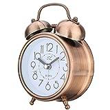 Alarm Clock, Vintage Round Retro Twin Bell Silent Non Ticking Sweep Bedside Analog Quartz Alarm Clock wake up clock with Night light (antique brass)