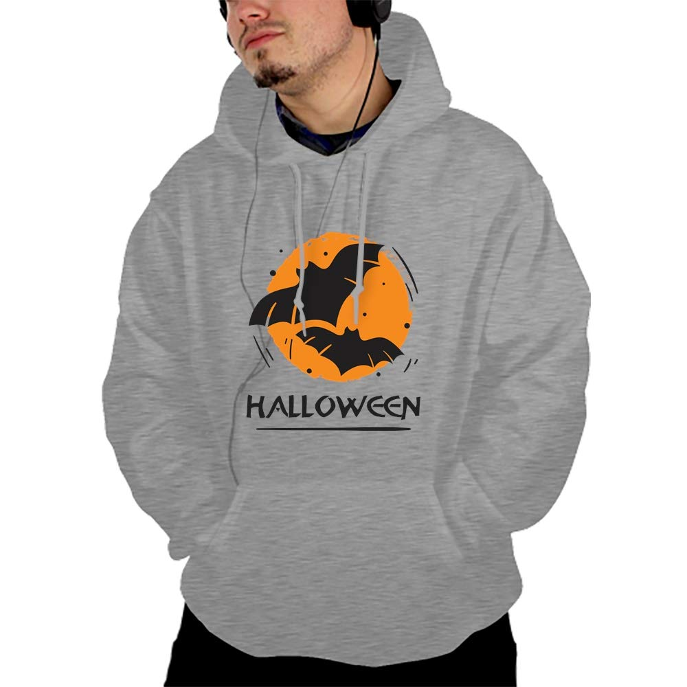 Men Long Sleeve Spooky Bat Haunted Print Drawstring Kangaroo Pocket Pullover Hooded Sweatshirt