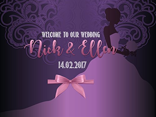 Custom Purple Design Wedding Artistic Bride in Dress Ribbon Bow Party Banner- sizes 36x24, 48x24, 48x36; Personalized Design Wedding Anniversary Home Decorations, Handmade Party Supply