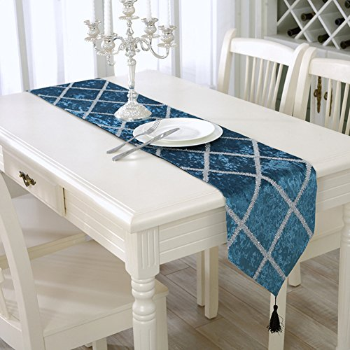 Aothpher Classic Tassel Elegant Glitter Aqua Table Runner Blue Approx for Party and Wedding 11 x 70 Inch