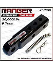 """Ranger 2"""" Extended Aluminum Hitch Receiver 3/4"""" Shackle Adapter 20,000 LBs Glossy (Black)"""