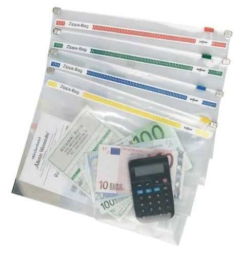 Snopake A4 Plus 355x235mm Zippa Bag with Tops - Transparent/ Assorted (Pack of 25)