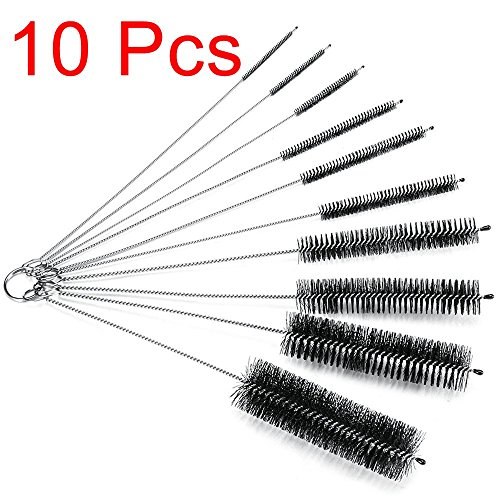 Price comparison product image Bottle Cleaning Brushes,  8 Inch Nylon Tube Brush Set,  Cleaner for Narrow Neck Bottles Cups with Hook,  Set of 10pcs