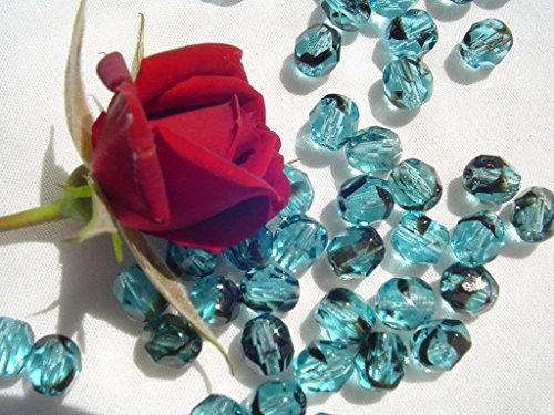 - Czech Firepolish Bead 6mm WR17-Aqua Tortoise Shell 50pc