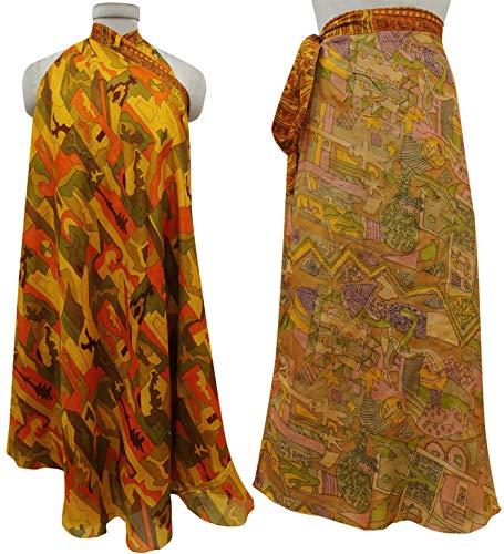 Saree rversible Indianbeautifulart Vintage Femmes Dress Rouge Wrap Les Pure Soie Multicolore Check Summer Imprimer Beach 008cTWx