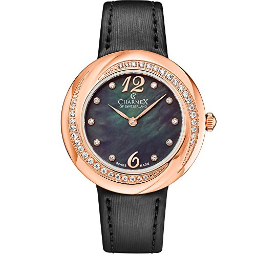 Charmex Women's Deauville 34mm Black Leather Band Steel Case Quartz Black MOP Dial Analog Watch 6362