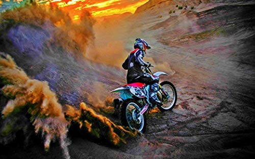 "NewBrightBase Motocross Dirt Bike Jump Sport Fabric Cloth Rolled Wall Poster Print - Size: (40"" x 24"" / 21"" x 13"")"