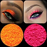 "Eyeshadow Pigment Myo Ultra Bright Matte ""Ultra Bright Pink"" & ""Ultra Bright Orange"" Mica Cosmetic Mineral Makeup 3 Gram Small Size (Prep eyelids with a base primer before applying pigment.)"