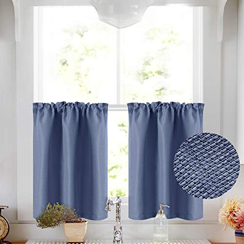- Vangao Tier Curtains 36 inch Basket Weave Textured for Kitchen Rod Pocket Cafe Curtain Room Darkening Short Drape Bathroom, 2 Panels,Blue