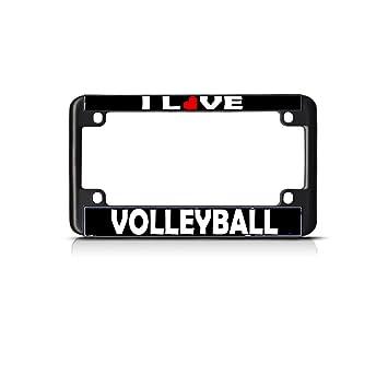 Amazon.com: I Love Volleyball Bike Black License Plate Frame Tag ...