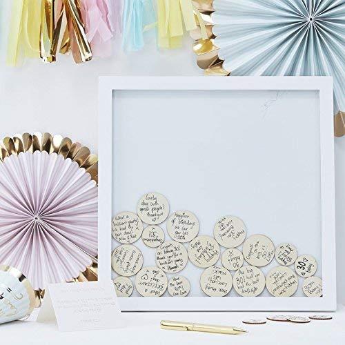 Wedding Guest Book Ideas Wedding Games Frame & 55 Write on Wood Circles ()