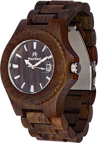 Maui Kool Wooden Watch Lahaina Collection for Men Women Unisex Analog Wood Watch Bamboo Gift Box (4A - Black Sandalwood) ()