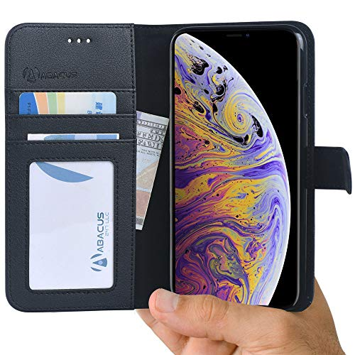 iPhone Xs Max Case Wallet with Flip Cover Card Holders Pockets and Stand Black by Abacus24-7