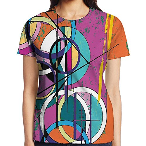 WuLion Unique Vertical Rectangle Inclined Cross and Half Circle Inner Reality Art Women's 3D Print T Shirt XXL White