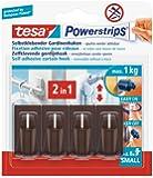 Tesa 58047-00002-00 Powerstrips - Ganchos adhesivos para cortinas Vario (4 ganchos, 6 tiras adhesivas), color marrón