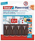 tesa UK Powerstrips Net Curtain Hooks with Removable Adhesive Strips - Brown, 4 Hooks