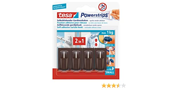 Amazon.com: tesa UK Powerstrips Net Curtain Hooks With Removable Adhesive Strips - Brown, 4 Hooks: Office Products