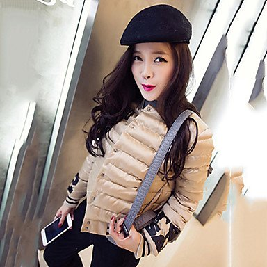 Crew 3XL Down Yellow Long Cute White Neck Coat Sleeve Black KHAKI Letter Plus YRF Women's Sizes wvZqCC