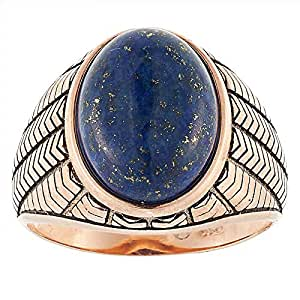 Aurora Men's Silver Aqeeq Blue Ring