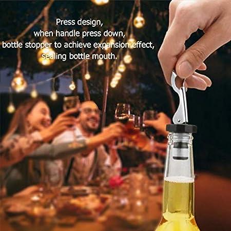 Botella Cierres con Palanca Tapones de Vino de Silicona Tapón de Vino Al Vacío Tapon Palanca Manual de Tapón de Botella Bebidas Tapones de Botellas Para Vino Tinto Champán Bebidas de Vino 4 Piezas