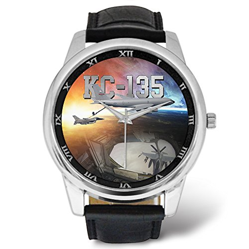 (KC-135 Boom Operator - Mens Military Watch, Leather Strap Large Dial)