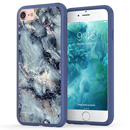 Texture Series (iPhone 7 Case, Marble iPhone 8 Case, True Color Grayish Blue Marble Printed Effect [Stone Texture Collection] Slim Hybrid Hard Back + Soft TPU Bumper Protective Durable Cover [True Impact Series])