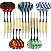 Wolftop 15 Pack Steel Tip Darts 18 Grams with Aluminum Shafts and 5 Style Flights + Extra Dart Sharpener