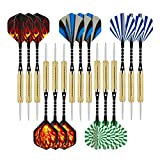 Wolftop 15 Pack Steel Tip Darts 18 Grams with Aluminum Shafts and Brass Barrels, an Extra Round Dart Sharpener Included