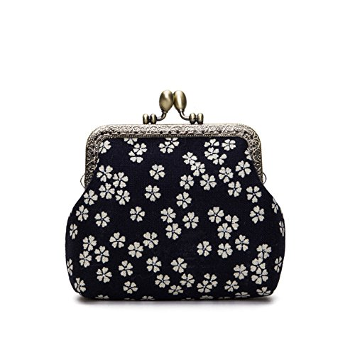 Jan Dee Lady's Cute Classic Floral Exquisite Buckle Coin Purse(Cherry Blossom Pattern) ()