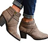 Women Low Heel Ankle Booties Slip On Suede Crisscross Braid Chunky Block Stacked Round Toe Ankle Boots