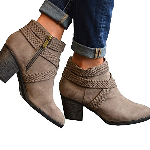 Women Low Heel Ankle Booties Slip On Suede Crisscross Braid Chunky Block Stacked Round Toe Ankle Boots Taupe