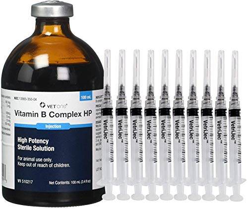 Vet One Vitamin B Complex High Potency (Value Pack) for Goats, Cattle, Swine, Sheep & Dogs 100 mL with (10) 3 mL/cc Luer Lock Syringes 22g x 1.0″ Needle & Caps – Supplemental Source of Vitamin B