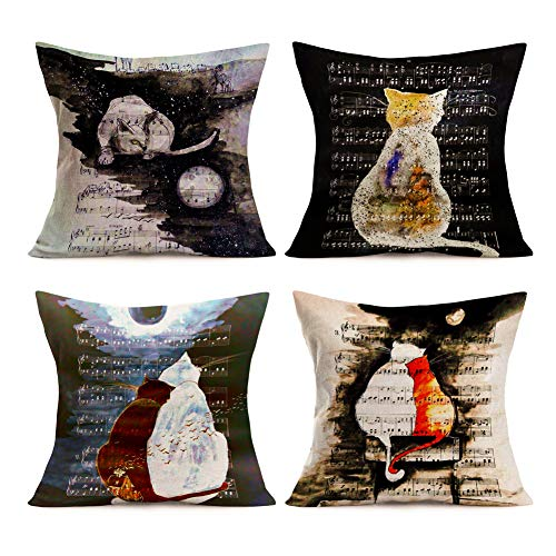 Royalours Lovely Animal Cat with Musical Notation Background Decorative Throw Pillow Covers Cotton Linen Moon Night Cushion Cover Outdoor Sofa Home Pillowcases Square 18x18 Inches (Music Cat)]()