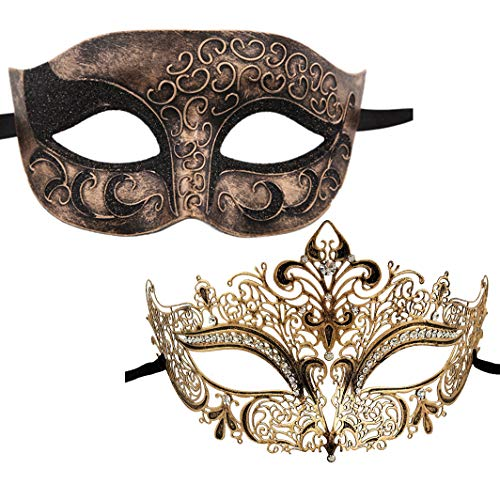 Eco Themed Halloween Costumes (XVEVINA Luxury Mask Womens Assorted Mens Venetian Party Mask Multicolored (Luxury Vintage Gold)