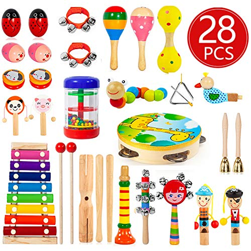 Kids Musical Instruments, 28Pcs 19Types Wooden Instruments Tambourine Xylophone Toys for Kids Children, Preschool Educational Learning Musical Toys for Boys Girls with Storage Baakpack (Toddler Musical Instruments)
