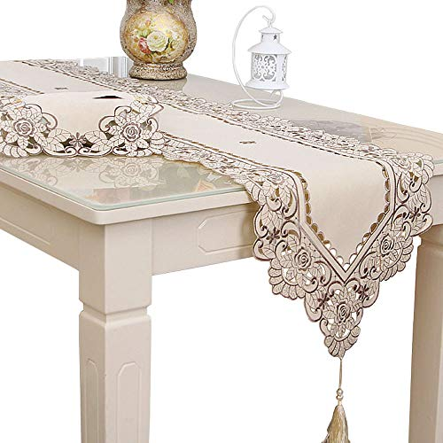 Embroidered Runner - LeLehome Classic Flowers Embroidered Lace Short Satin Floral Washable Fabric Table Runner Table Top Decoration Tapestry - Beige Flower(15 inch x 77 inch)
