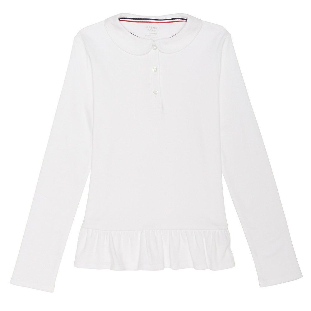 French Toast Big Girls' Long Sleeve Ruffle Bottom Polo, White, M (7/8)