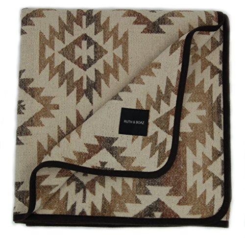 RUTH&BOAZ Outdoor Wool Blend Blanket Ethnic Inka Pattern(N) (Beige, Large) -