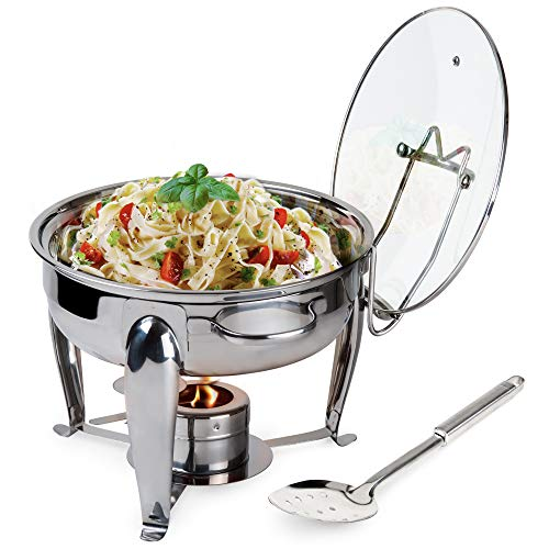 6 Quart Round Stainless Steel Chafing Dish with Bonus Slotted Spoon and Drip Tray for Lid