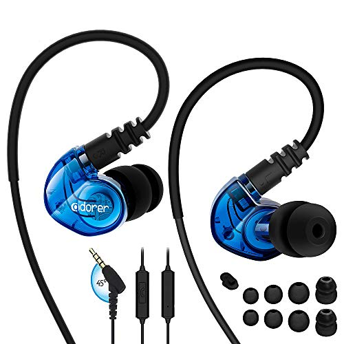 Adorer Sports Headphones RX6 Wired Earphones with Microphone and Memory Earhook, Running Earbuds for iPhone, iPad, Samsung, Smartphone, MP3 Player and more – Blue