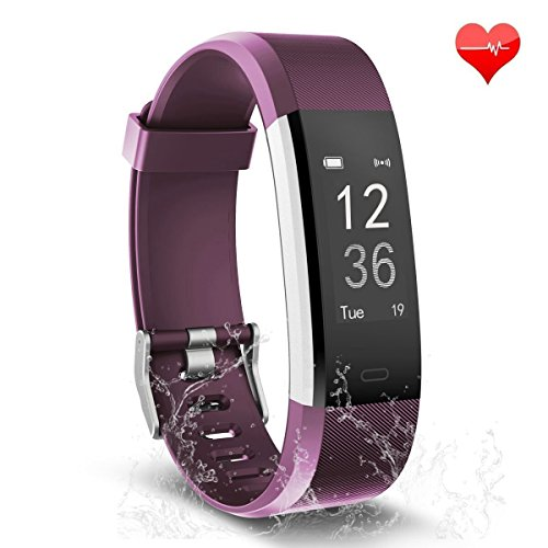TwobeFit Fitness Tracker, Waterproof Activity Tracker Heart Rate Monitor Bluetooth Smart Watch Bracelet Wristband Sleep Monitor Pedometer for Android and iOS Smartphone (Purple)