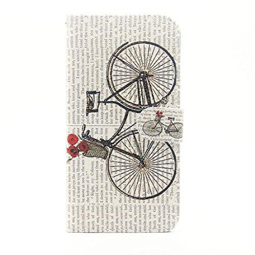 Uming® Patrón Especial de la serie de impresión colorida caja de la PU de la pistolera Caso Holster case ( Rock - para Huawei Ascend P8Lite ) de cuero artificial del tirón con el soporte Stander titul Retro bicycle