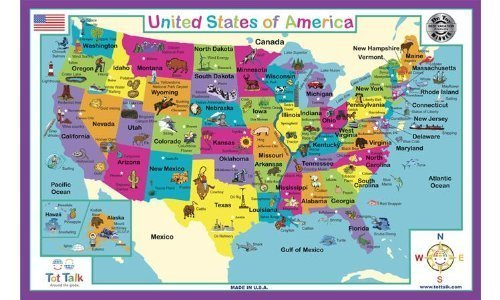 Map Of Usa Placemat
