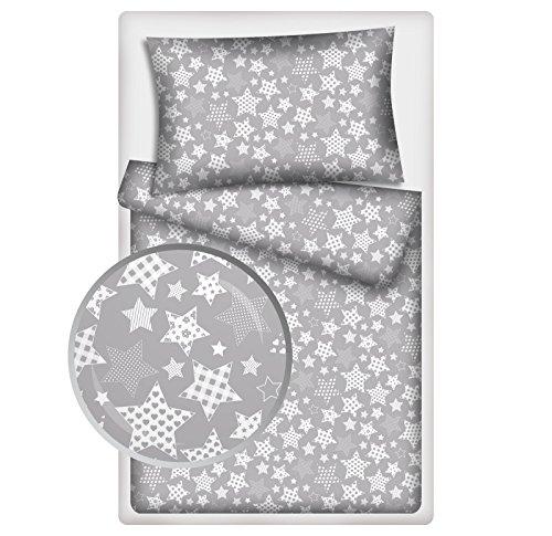 Kinderbettwäsche Stars 2-tlg. 100% Baumwolle 40x60 + 100x135 cm mit Reißverschluss (Vario-grau)